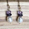 Lavender and White Freshwater Pearl Earrings.