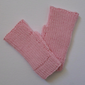 Pale Pink Wool Texting Mitts in Adult Hand Size