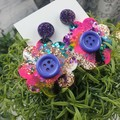 Diva Button Flower Power Glitter Resin - Stud Dangle earrings