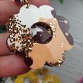 Sunset Flower Power Glitter Resin - Stud Dangle earrings