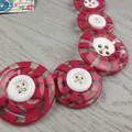 Pink Mint Swirls - Red white- Button Necklace - Button Earrings - Jewellery