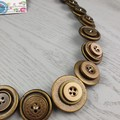 Bronze - Button Necklace - Button Earrings