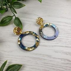Night Sky Hoops Glitter Resin - Stud Dangle earrings