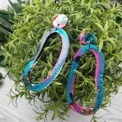 Electric loopy loop Hoops Glitter Resin - Stud Dangle earrings