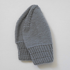 Light Grey Wool Hat with Patterned Band in Medium Adult Size - Ready To Post