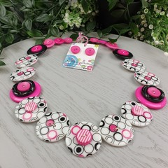 Bubble Spot in Pink and Black - Button Necklace - Earrings