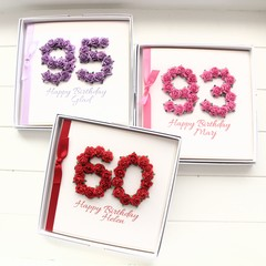 Any Age Personalised Birthday Card, 5 Colours, Gift Boxed, Card For Her, For Mum