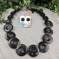 Simply Black - Button Necklace - Button Earrings