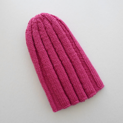 Pink Wool Beanie Cap in Medium Adult Size
