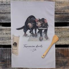 100% Cotton Tea Towel - Tasmanian Devils
