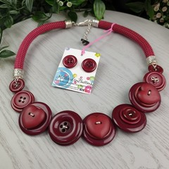 Bronco Maroon - Button Fusion Necklace - Button Jewellery - Earrings