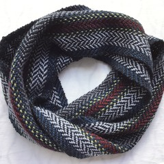 Pure Wool Loop Scarf, Handwoven,  Black, Blue, Grey, Burgundy