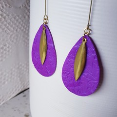 NAYA contemporary purple large brass minimalistic polymer gift earrings modern