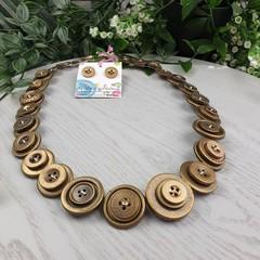 Bronze - Button Necklace - Button Earrings