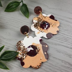 Sunset Flower Power Glitter Resin - Stud Dangle earrings
