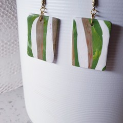 BREEZE abstract olive green white  minimalistic polymer gift earrings simplistic