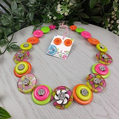 Flower Power 70's - Button Necklace - Button Earrings