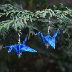 Sparkly Blue Origami Earrings