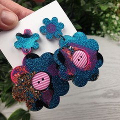 Electric Blue Flower Power Glitter Resin - Stud Dangle earrings