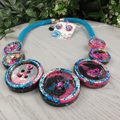 Galaxy Glitter Fusion -Resin - Necklace - Jewellery - Earrings
