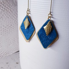 LIVIA turquoise blue cream gold brass minimalistic polymer earrings modern