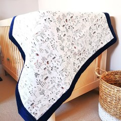 Baby Coverlet Play Mat Baby Cot Quilt Nursery in Snowy Wilderness print