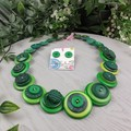 Trees of Green - Button Necklace - Earrings