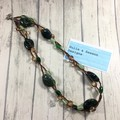 Jade gemstone, green and brown beaded double necklace