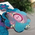 Electric Blue Flower Power Glitter Resin - Stud Dangle earrings