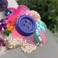 Diva Button Flower Power Glitter Resin - Stud Dangle earrings
