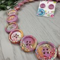 Pink Neon Sparkle Glitter  - Button Necklace - Button Earrings - Jewellery