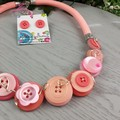Coral Pink - Button Fusion Necklace - Button Jewellery - Earrings