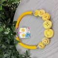 Lemon Yellow Squeeze- Button Fusion Necklace - Button Jewellery - Earrings