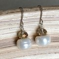 Genuine Silver and Freshwater Pearl Earrings.