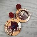 Sunset Circle Power Glitter Resin - Stud Dangle earrings