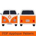 Camper Van Applique Template, PDF Pattern, Retro Car Applique Design, DIY