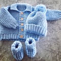 Baby Jacket Hat and Booties set 0-3 Months