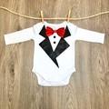 Baby Tuxedo Bodysuit, Baby Boy Tuxedo, Red Bowtie, Baby Wedding Outfit