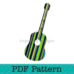Acoustic Guitar Applique Template, Music, DIY, PDF Pattern for Children