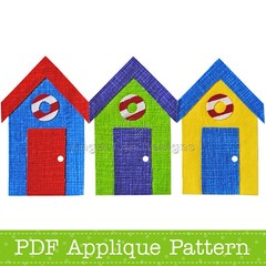 Beach Huts Applique Template Bathing Hut PDF Pattern