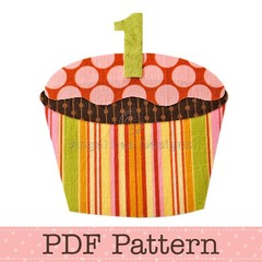 Birthday Cupcake Applique Template, Children, PDF Pattern