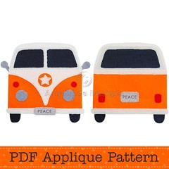 Camper Van Applique Template, PDF Pattern, Retro Car Applique Design, DIY