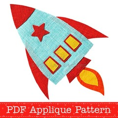 Rocket Applique Pattern. Spaceship PDF Template. Boys Applique Design