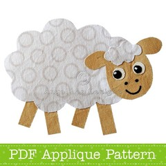 Sheep Applique Pattern PDF Template Lamb Applique Design