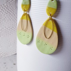 LIME ZEST love ombre yellow ecru lime green long teardrop polymer clay earrings