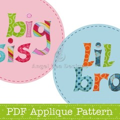 Lil Bro Big Sis Applique Pattern PDF Letter Templates Applique Design