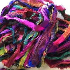 Recycled silk ribbon multicolour fuzzy frayed edge 100 grams