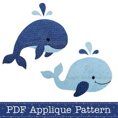 Whales Applique Template, PDF Applique Pattern, Jumping Whale and Swimming Whale