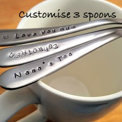 Customise 3 spoons Stamped, custom Teaspoons ,spoon