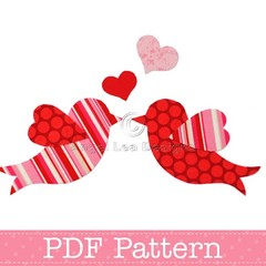 Love Birds Applique Template, Valentine's Day Designs, DIY, PDF Pattern